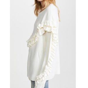 Frame Ivory Ruffle Pullover Sweater Size Small